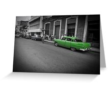 Green classic American car in Cuba. Greeting Card