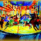 AnOther OReilly ORiginal Painting half pint riding santa cruz boardwalk carosel pony by Timothy C O'Reilly