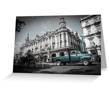 Old blue American truck in grey street. Greeting Card
