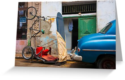 Parked car and bicitaxi, humourous. by brians101