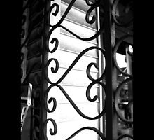 Vintage Heart-Shaped Wrought Iron Window Display Security Gate - Port Jefferson, New York by © Sophie W. Smith