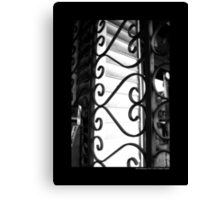 Vintage Heart-Shaped Wrought Iron Window Display Security Gate - Port Jefferson, New York Canvas Print