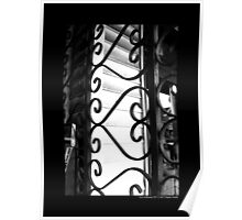 Vintage Heart-Shaped Wrought Iron Window Display Security Gate - Port Jefferson, New York Poster