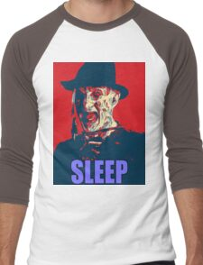 "Freddy Krueger ""SLEEP"" A Nightmare On Elm Street Parody  Men's Baseball ¾ T-Shirt"