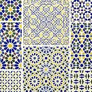 Middle Eastern Tile Patterns in Blue and Yellow by RedPine