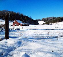 red barn in the snow by LoreLeft27