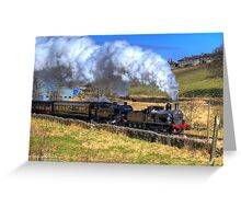 Steam Train Passes Haworth Greeting Card