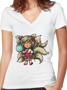 Pixel Dynasty Ahri Women's Fitted V-Neck T-Shirt