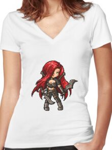 Katarina, The Pixel Blade Women's Fitted V-Neck T-Shirt