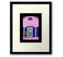 East Broadway Pink House Window - Port Jefferson, New York  Framed Print