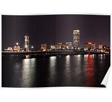 Boston Skyline at Night  Poster