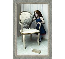 Little Girl and Cat on a chair Photographic Print