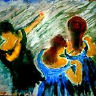 AnOther OReilly ORiginal Painting Half Pint and friends dancing all because of tiny dancers — with Half-Pint'. by Timothy C O'Reilly