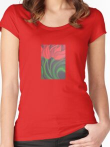 Red Tulip Diptych (Left) Women's Fitted Scoop T-Shirt