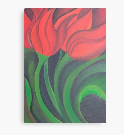 Red Tulip Diptych (Left) Canvas Print