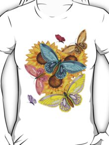 Pretty Butterfly T-Shirt With Sunflowers T-Shirt