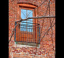 Red Brick Building Door On East Broadway - Port Jefferson, New York by © Sophie W. Smith