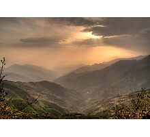 Green mountains over red sky Photographic Print