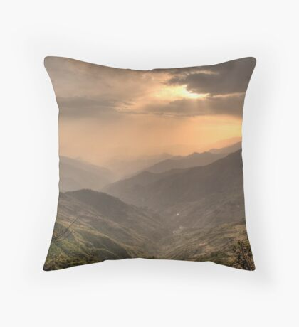 Green mountains over red sky Throw Pillow