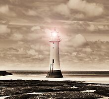 Sepia Surreal Lighthouse 3 by DavidWHughes