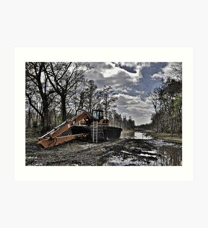 Excavator in the Swamp Art Print