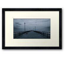 Abandoned Pier, New Brighton Pier in B&W, New Zealand Framed Print