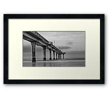 New Brighton Pier in B&W, New Zealand Framed Print