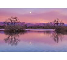 Pink Sawhill Moonset Photographic Print