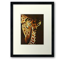 Mother and baby giraffe - oil painting Framed Print