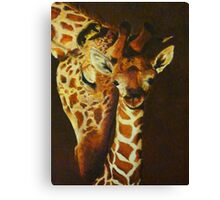 Mother and baby giraffe - oil painting Canvas Print