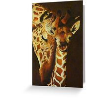 Mother and baby giraffe - oil painting Greeting Card