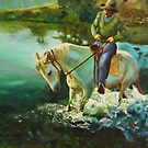 Dancing horse - oil painting by Chris Brunton