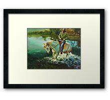 Dancing horse - oil painting Framed Print