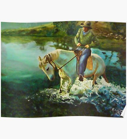 Dancing horse - oil painting Poster