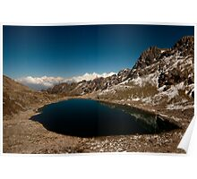 Mountain lake and snow peaks Poster