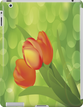 Orange Tulips iPad Case by AdrianeJ