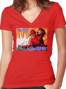 North Korean Propaganda - Red Army Women's Fitted V-Neck T-Shirt