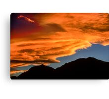 As Sunset Rolls Over the Flatirons Canvas Print