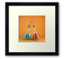 cute chemistry - flasks in love Framed Print