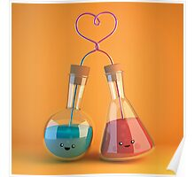 cute chemistry - flasks in love Poster