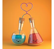 cute chemistry - flasks in love Photographic Print