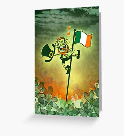 Green Leprechaun Singing on a Flag Pole Greeting Card