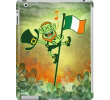 Green Leprechaun Singing on a Flag Pole iPad Case/Skin