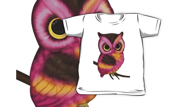 Pink owl t-shirt for children by Moonlake