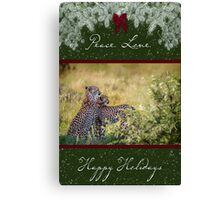 Cheetah Mother and Son for the Holidays Canvas Print