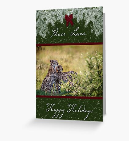 Cheetah Mother and Son for the Holidays Greeting Card