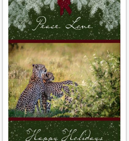 Cheetah Mother and Son for the Holidays Sticker