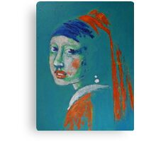 Girl With A Pearl Earring - Blue Portrait Canvas Print