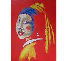 Girl With A Pearl Earring - Red Portrait Photographic Print
