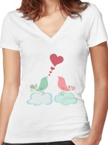 Love bird couple  Women's Fitted V-Neck T-Shirt